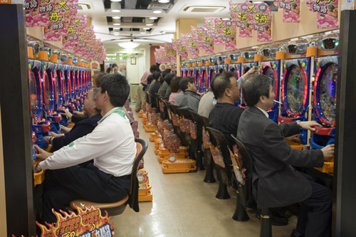 Crowded pachinko parlor at Osaka