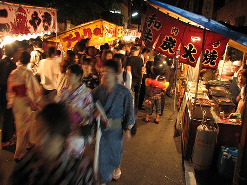 Food and crafts adorn every street during the Gion matsuri.