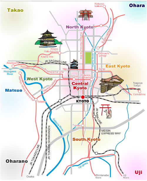 kyoto map 2 Travel To Kyoto   Top 10 Best Places
