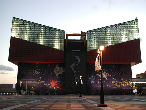 the magnificent facade of osaka aquarium kaiyukan Travel To Osaka   Top 10 Best Places