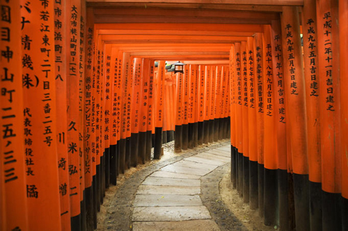 Tunnel of torii gates with inscriptions at Fushimi Inari Shrine.