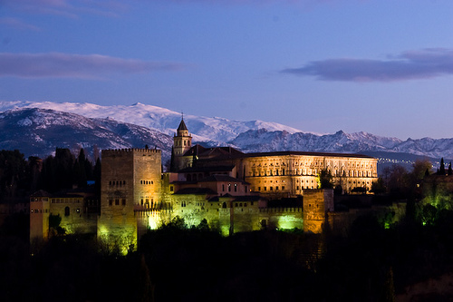 Alhambra at night. It is a palace and fortress complex of the Moorish rulers of Granada in southern Spain.