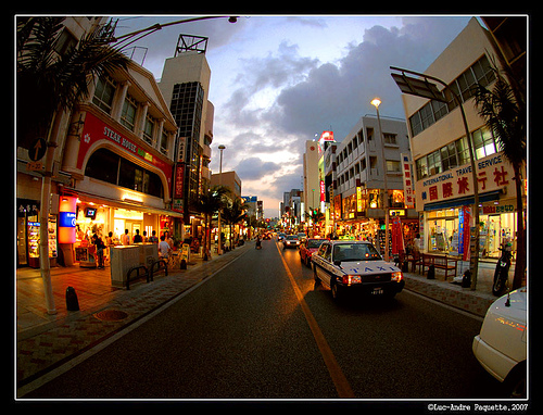 an elegant shot of Kokusaidori shopping and entertainment street at Downtown Naha, Okinawa Island