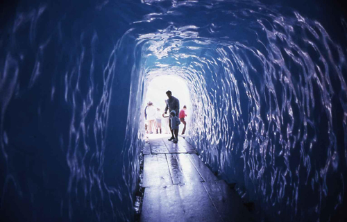 Entrance of the ice cave of Rhone Glacier is amazing