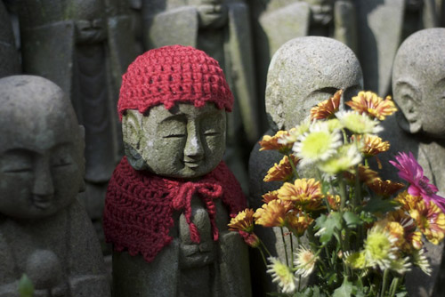 Jizo statues representing the souls of miscarried, stillborn or aborted children.