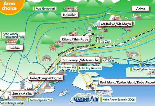 Kobe map - attractions