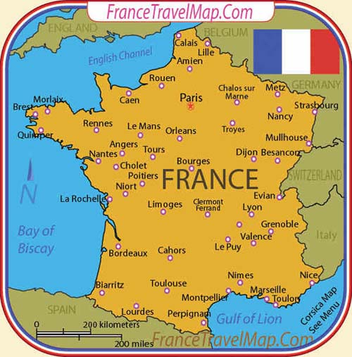 map of France - attractions