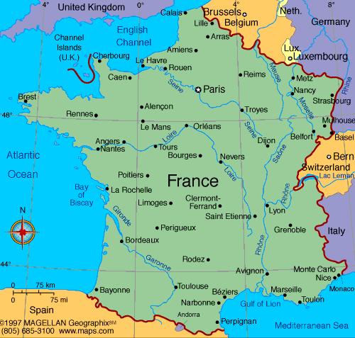 map of france Travel To France   Top 10 Best Places