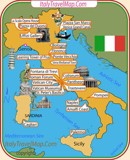 map of Italy - attractions