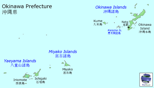 Map of Okinawa Prefecture showing location of Okinawa Island, Japan