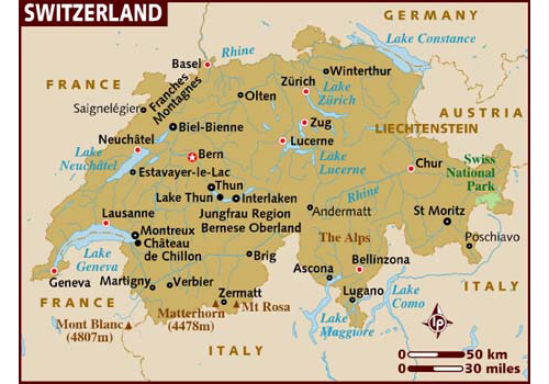 map of switzerland Travel To Switzerland   Top 10 Best Places