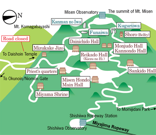 Miyajima map - attractions