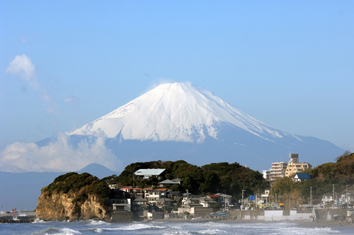Mt Fuji viewed from Shichirigihama Beach, Kamakura, Japan