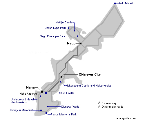 Okinawa Island Map - Attractions