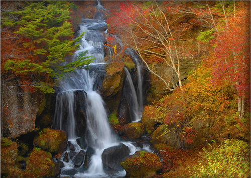 Ryuzu Falls, one of Japan's most photographed koyo spots at Nikko National Park