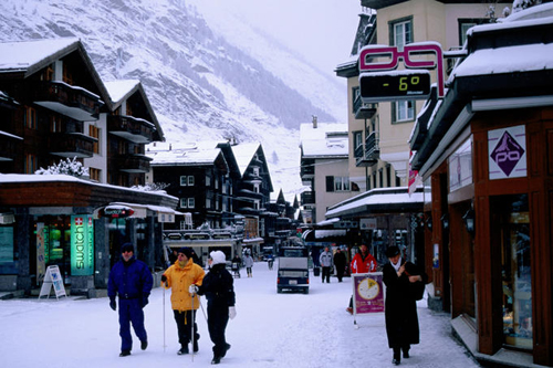 snow covered main street in montain village of zermatt swiss alps Travel To Switzerland   Top 10 Best Places