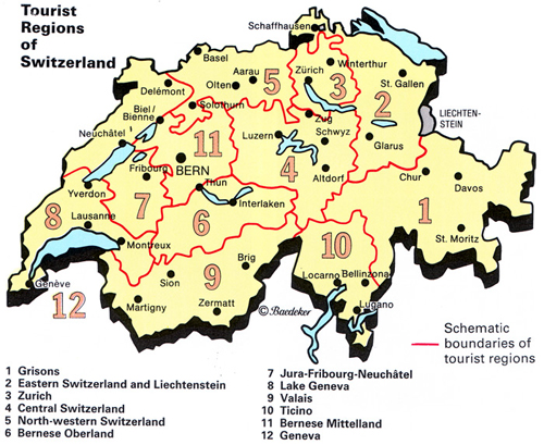 Switzerland map - attractions