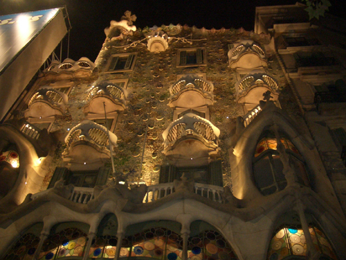 The facade details of Casa Batllo looks tremendous, Barcelona, Spain