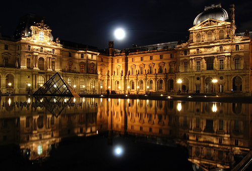 The magnificent Musee du Louvre resting in tranquility, Paris, France