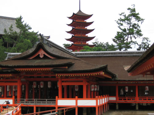 the view of Itsukushima Shrine with the scenic 5-story pagoda (Gojuto) at the background
