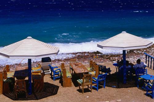 A beachfront restaurant in Dahab, a popular destination for Red Sea divers