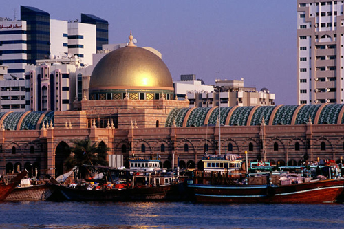 Al Majarrah Souk on the south bank of Khaled Lagoon, United Arab Emirates (UAE)