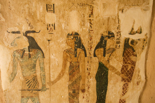 ancient painting in tomb of si amun mountain of the dead Egypt