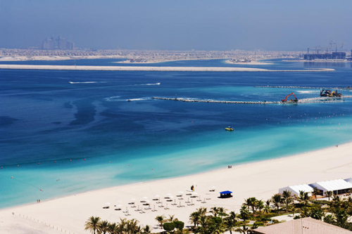 Beach at Dubai Marina and parts of the Palm Beach