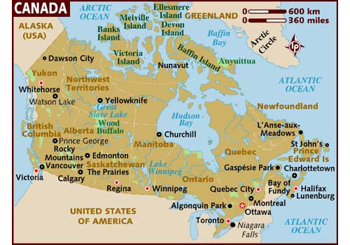Canada map - attractions