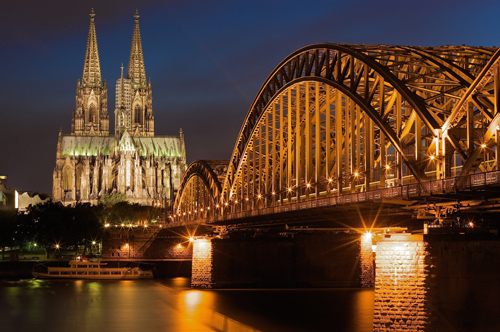 Cathedral of Cologne and Hohenzollern bridge are two significant landmarks in Cologne, Germany