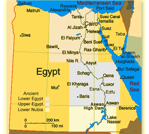 egypt map Travel To Egypt   Top 10 Best Places