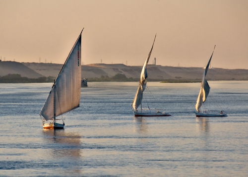 Feluccas (local sailing boats) on Nile River.