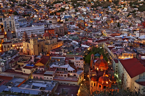 Gorgeous Mexico cityscape at dusk.