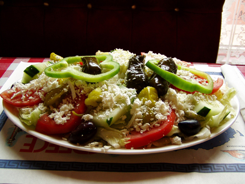 Greek salad (horiatiki (village) salata) is a local dish that you must not miss!