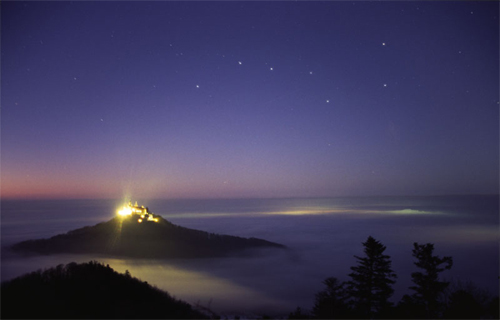 Hohenzollern Castle is the Big Dipper above clouds