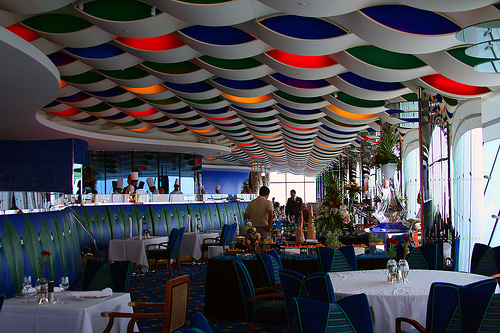 Interior of Al-Muntaha, the top floor restaurant in Burj al-Arab hotel, featuring wave-like ceiling design