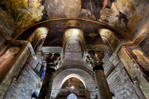 Interior of Chora Museum (Kariye Muzesi) featuring Byzantine mosaics and frescoes.