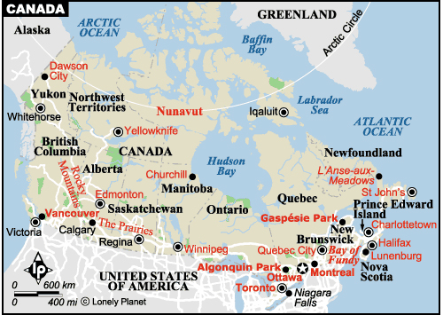 map of canada Travel To Canada   Top 10 Best Places