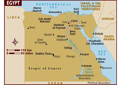 map of Egypt - attractions