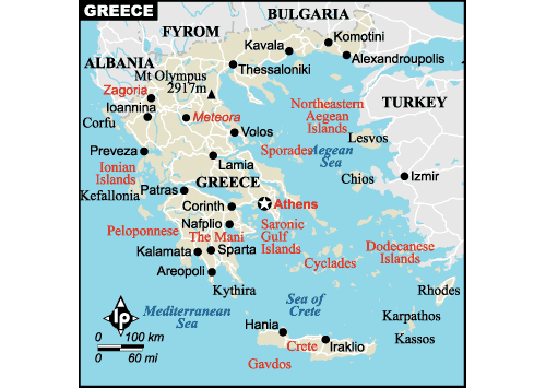 map of Greece - attractions