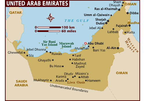 map of UAE, United Arab Emirates - attractions