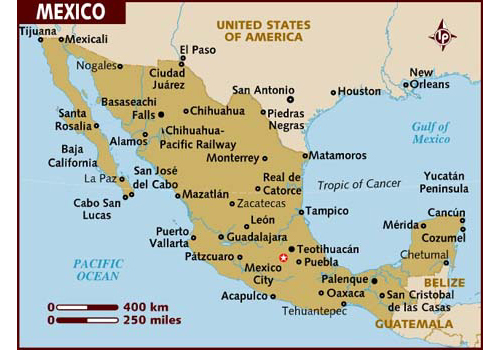 Mexico map - attractions