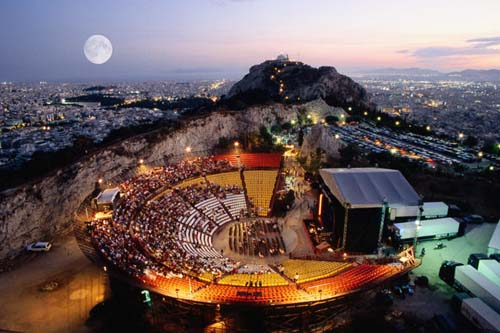 Overhead of open-air theatre of Lykavittos hill, each summer hosts musical, theatrical performances in evenings, Greece