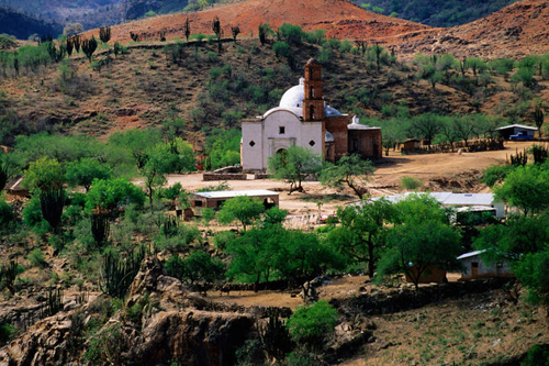 Overhead of Satevo mission church, Copper Canyon, Mexico