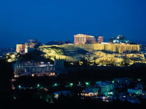 Parthenon and Acropolis hill at night.