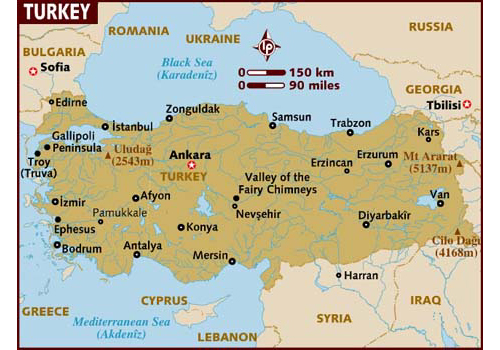 Turkey map - attractions
