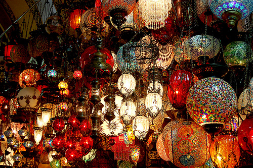 Turkish style hanging lamps at the Kapalicarsi (Covered Bazaar), also known as the Grand Bazaar, built in the 1400's in Istanbul, Turkey