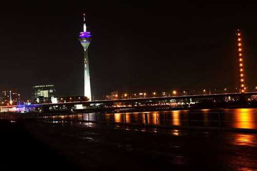 TV Tower adds colors to the skyline in Dusseldorf, Germany
