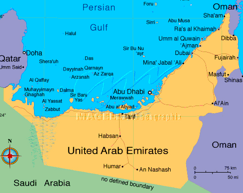 United Arab Emirates, UAE map