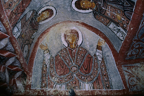 Wall frescoes in Greek Orthodox style, Cave church.